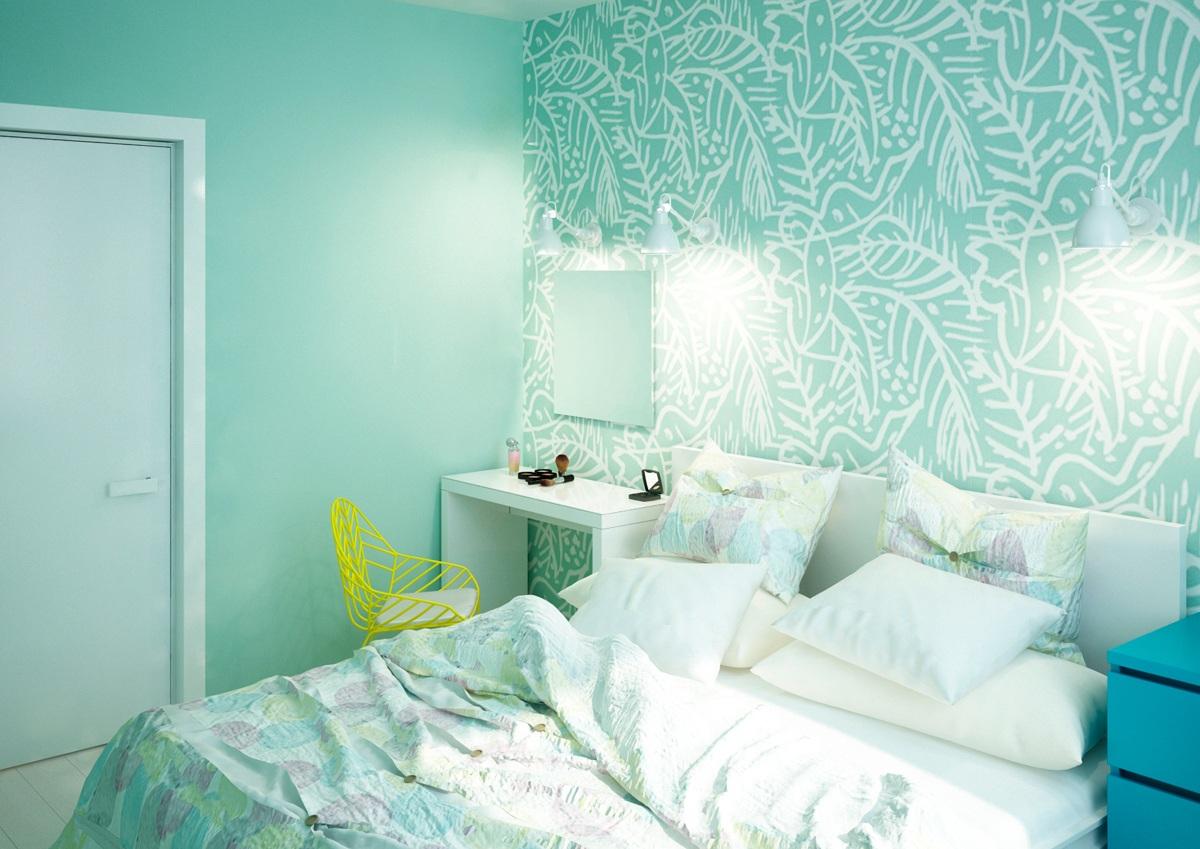 обои для спальни зеленые с большим образцом