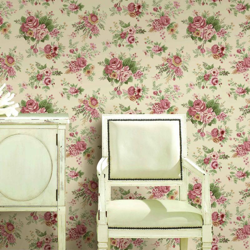цветочные обои для комнаты