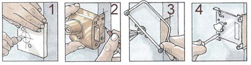 Технология установки замка в межкомнатную дверь