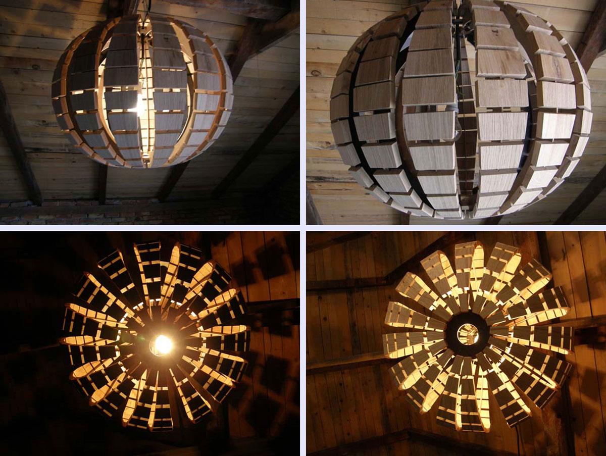 люстра в виде деревянного шара