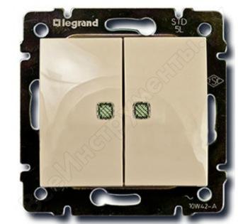 Двухклавишный выключатель Legrand Valena 774328 с подсветкой, крем