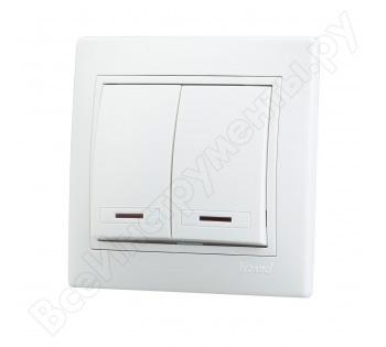 Двухклавишный выключатель с подсветкой Lezard СП Мира белый с белой вставкой 701-0202-112