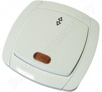 Одноклавишный проходной выключатель с подсветкой, белый UNIVersal Севиль С0125
