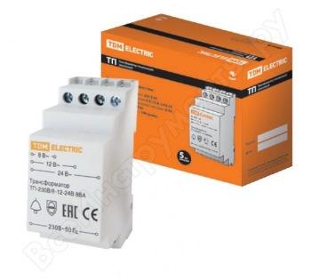 Понижающий звонковый трансформатор TDM ТП-230В/8-12-24В 8ВА DIN-рейка SQ0225-0001